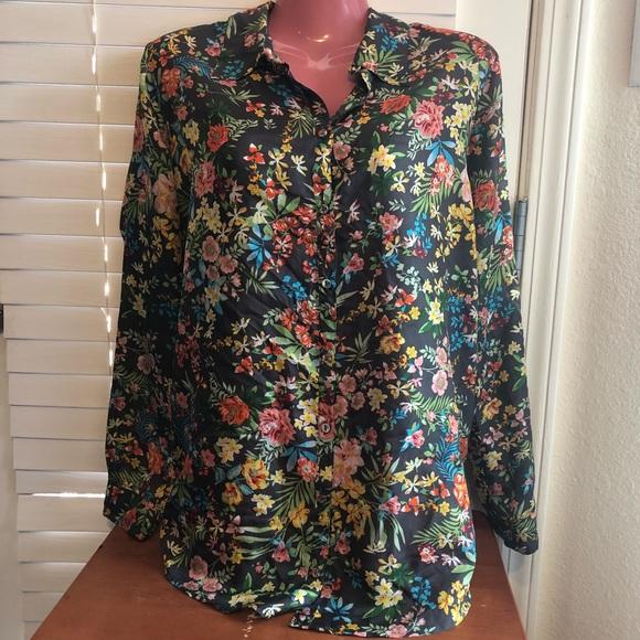 919f5e2ed1e28b Johnny Was Tops | Silk Gray Floral Button Up Blouse | Poshmark